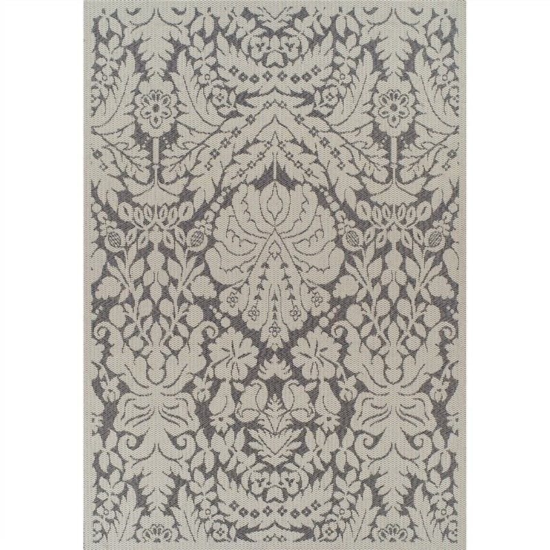 Pavilion Damask II 180x270cm Egyptian Made Indoor/Outdoor Rug - Cream/Grey