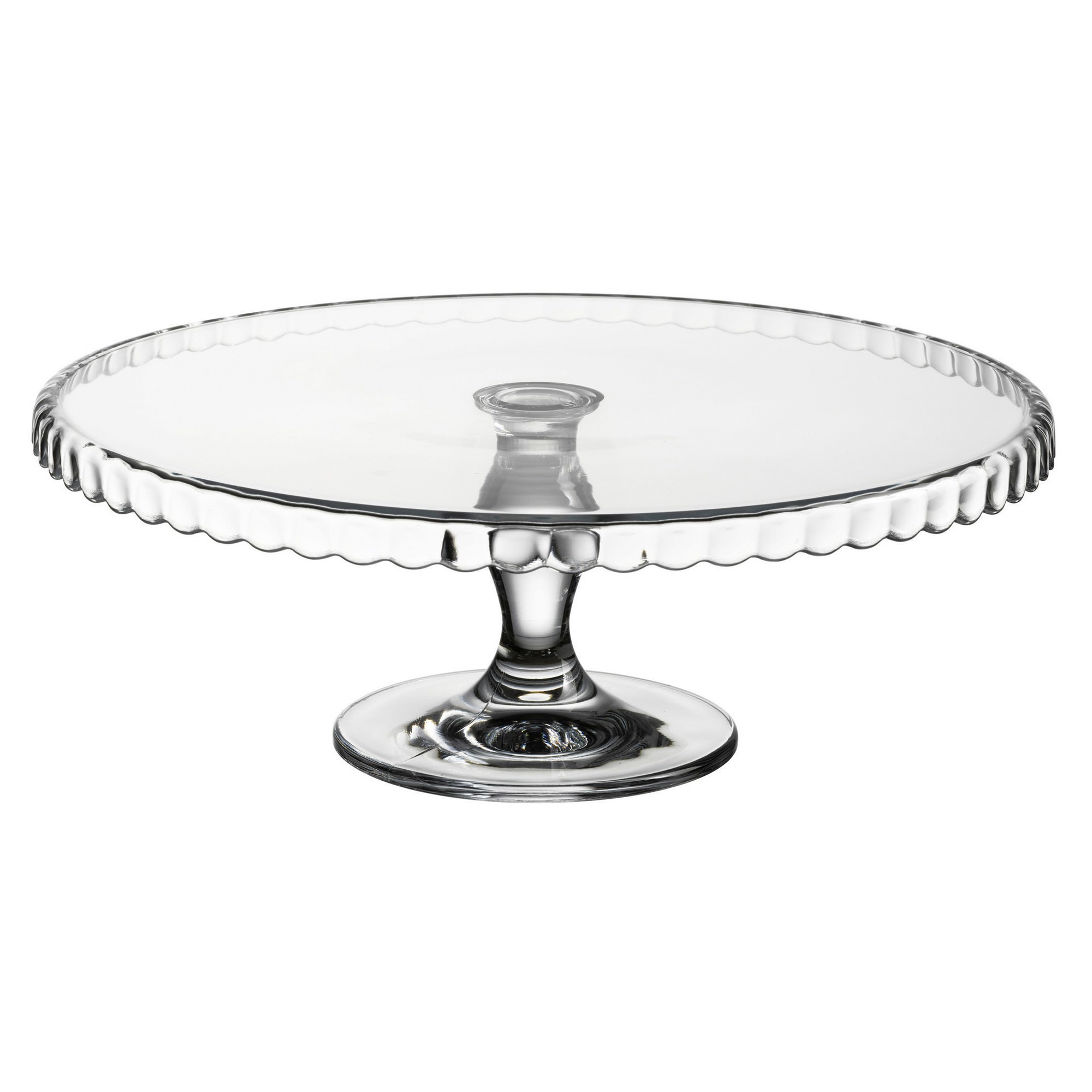 Pasabahce Patisserie Glass Cake Stand, Scallop Down
