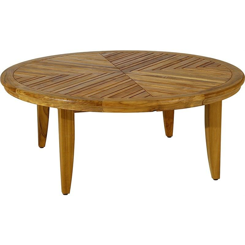 Sofia Solid Teak Timber Round Indoor/Outdoor Coffee Table, 114cm