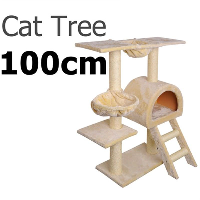 Multi Level Cat Scratching Poles Tree with Ladder - Beige