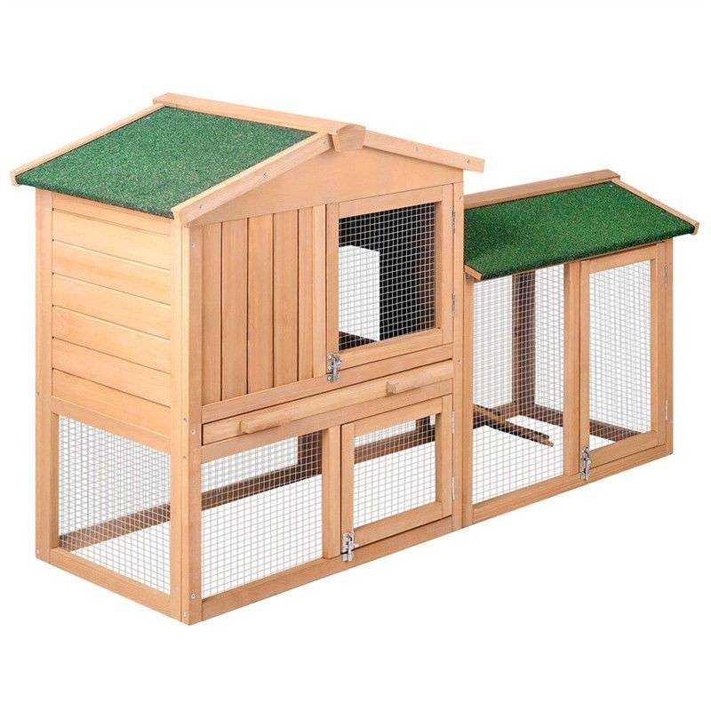Greenroof Two-Storey Timber Rabbit Hutch / Poultry Lodge and Exercise Run