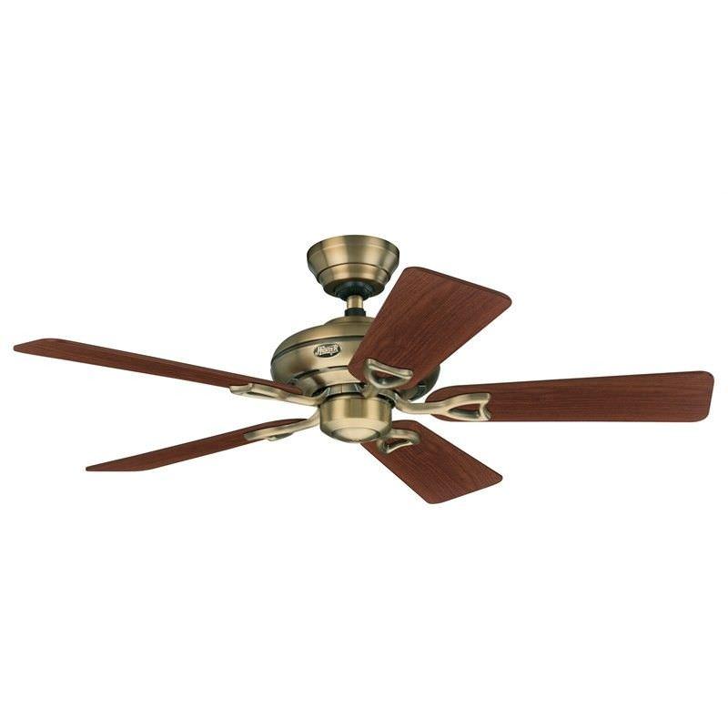 Hunter Seville II Commercial Grade Antique Brass Ceiling Fan with Walnut / Medium Oak Switch Blades