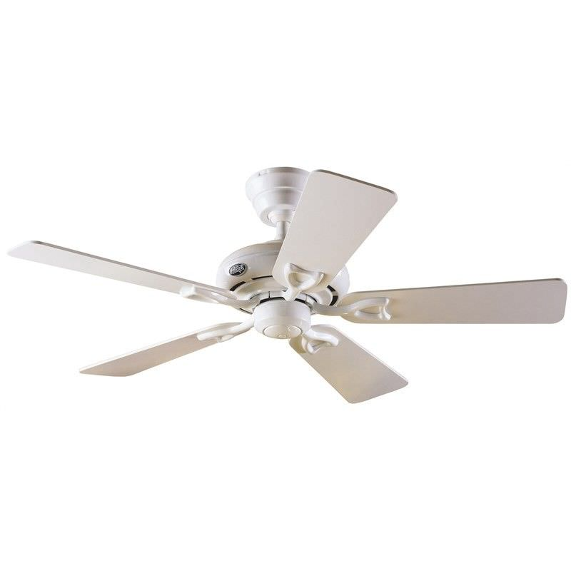 Hunter Seville II Commercial Grade White Ceiling Fan with White / Light Oak Switch Blades