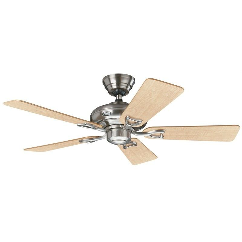 Hunter Seville II Commercial Grade Brushed Nickel Ceiling Fan with Maple / Grey Switch Blades