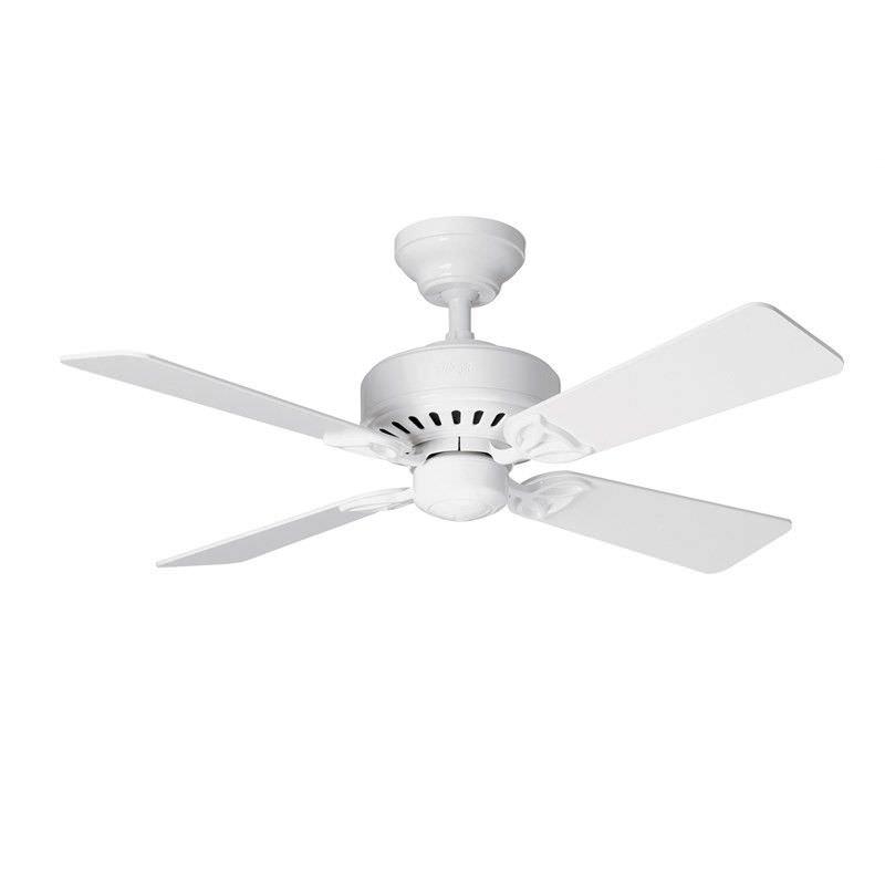 Hunter Bayport Commercial Grade White Ceiling Fan with White / Light Oak Switch Blades