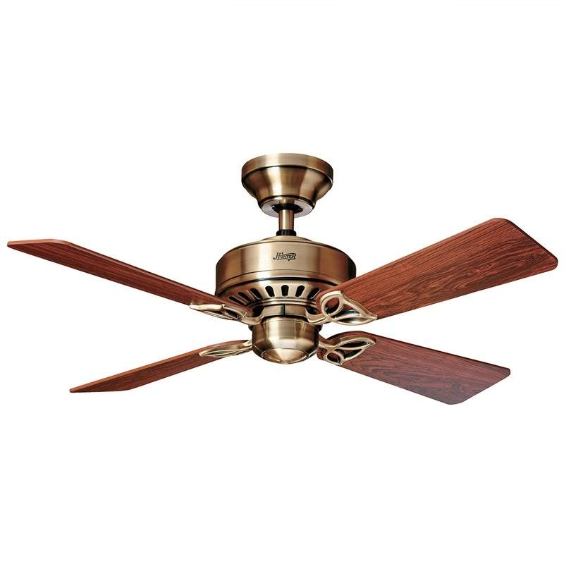 Hunter Bayport Commercial Grade Antique Brass Ceiling Fan with Rosewood / Medium Oak Switch Blades