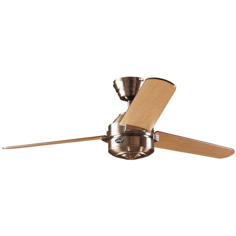 Hunter Carera Commercial Grade Brushed Nickel Ceiling Fan with Maple / Dark Walnut Switch Blades