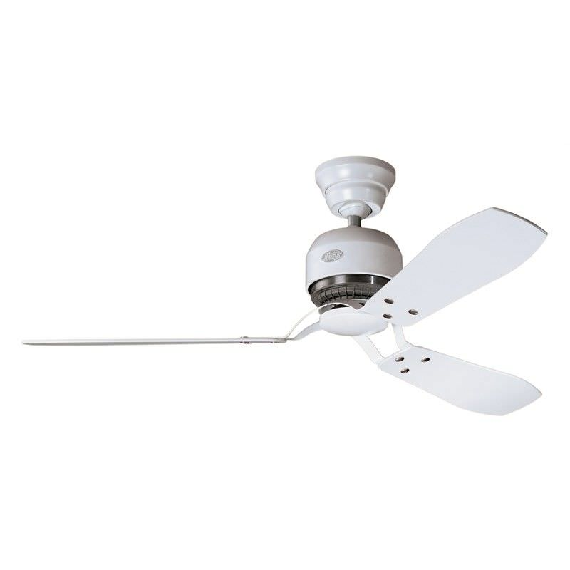 Hunter Tribeca Commercial Grade White Ceiling Fan with White / Maple Switch Blades