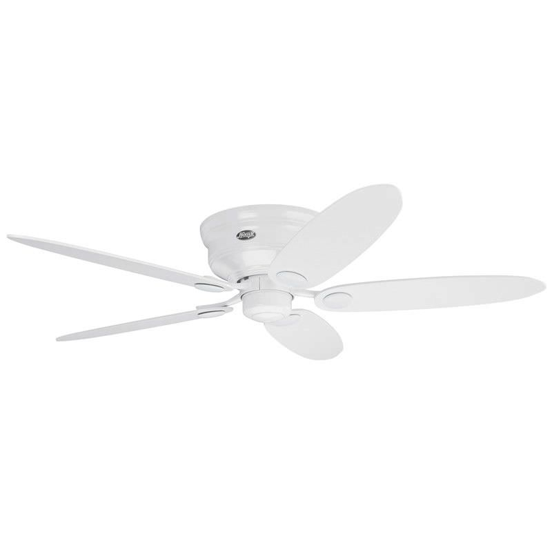 Hunter Low Profile III Commercial Grade White Ceiling Fan with White / Maple Switch Blades