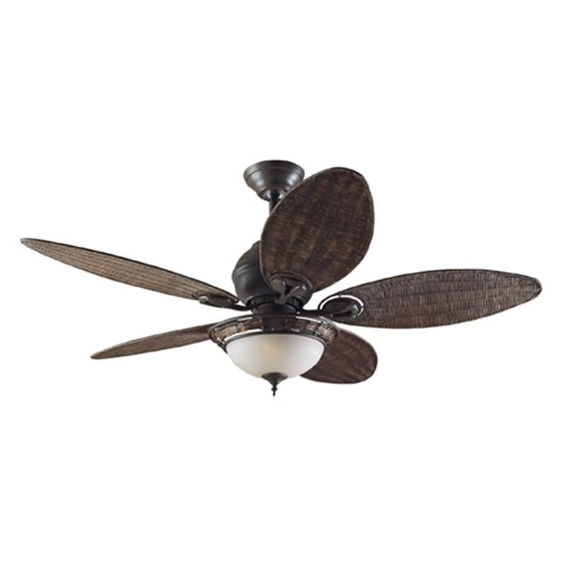 Hunter Caribbean Breeze Traditional Ceiling Fan with Antique Wicker Blades