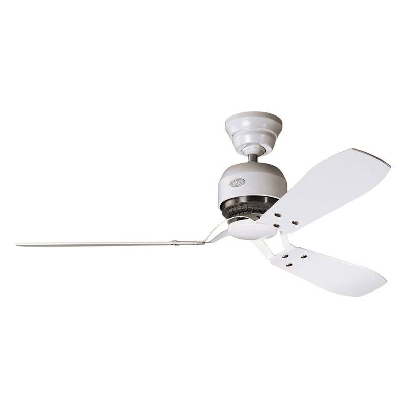 Hunter Industrie II Commercial Grade Chalk White Ceiling Fan with White / Maple Switch Blades