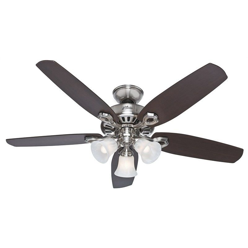 Hunter Builder Plus Brushed Nickel Ceiling Fan with Brazilian Cherry / Burnt Walnut Switch Blades and Lights