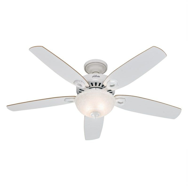 Hunter Builder Deluxe White Ceiling Fan with Light