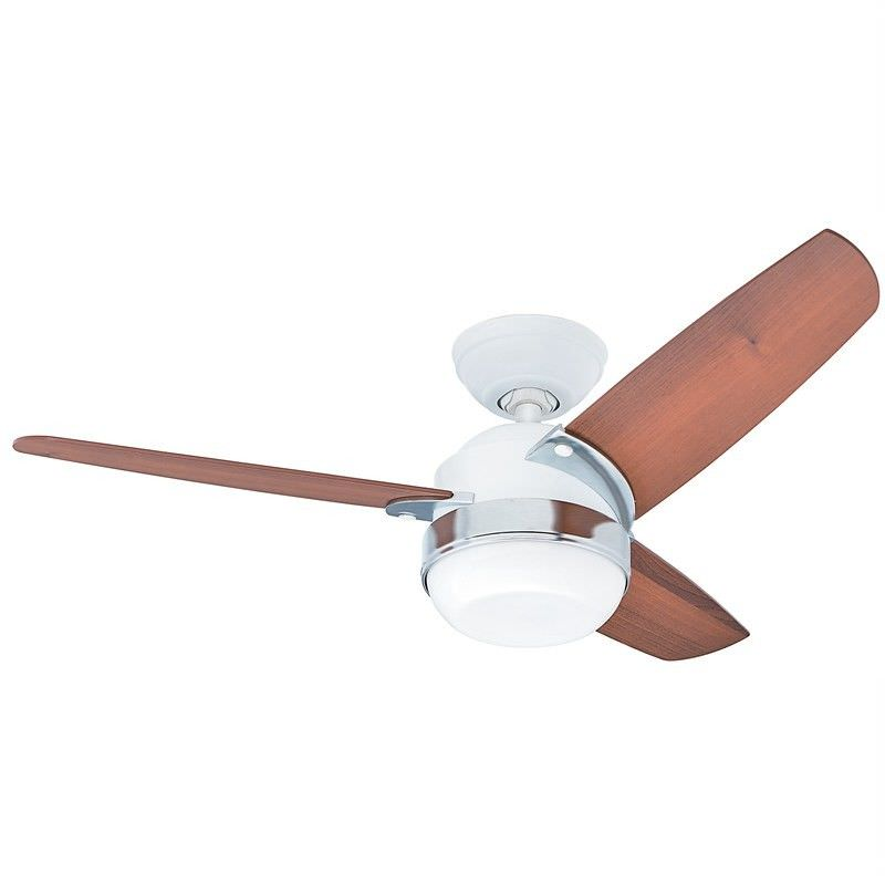 Hunter Nova Commercial Grade White Ceiling Fan with Light Brown Blades