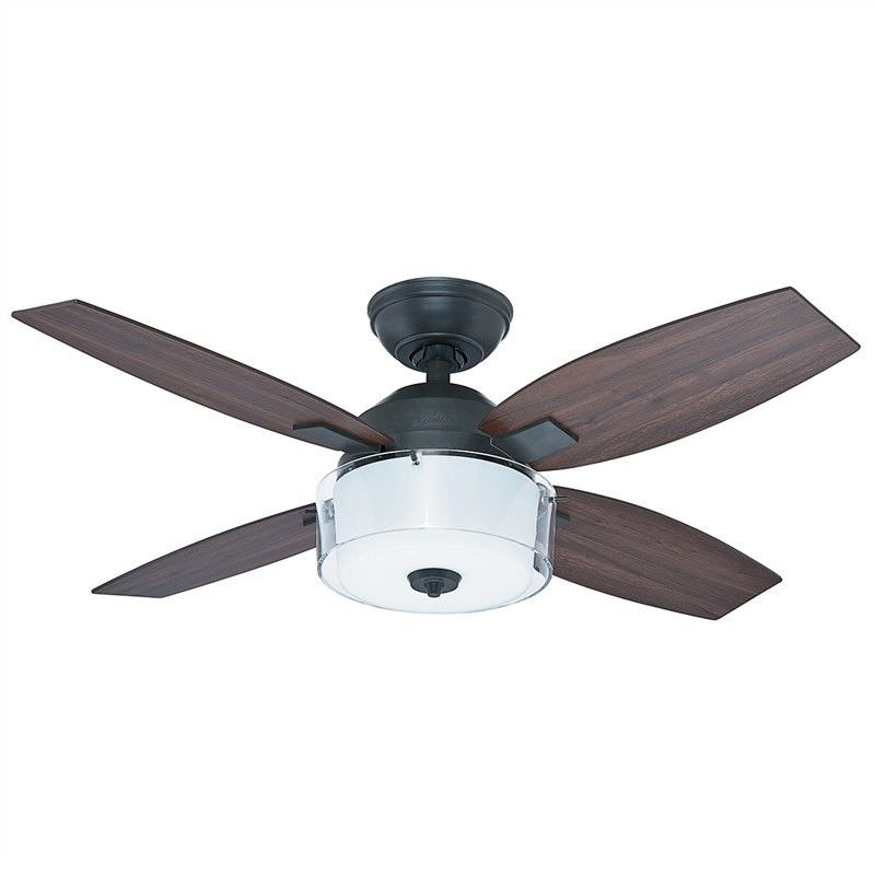 Hunter Central Park Commercial Grade Aged Steel Ceiling Fan with Dark Walnut / Gray Walnut Switch Blades