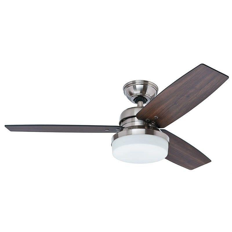 Hunter Galileo Brushed Nickel Ceiling Fan with Dark Walnut / Dark Oak Switch Blades