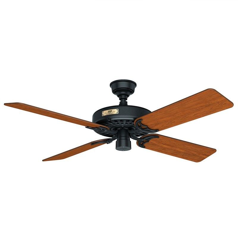 Hunter Original Commercial Grade Black Ceiling Fan with Walnut / Cherry Switch Blades