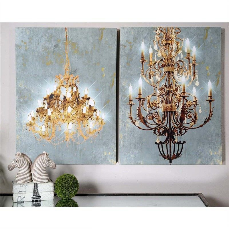 Set of 2 Chandelier Canvas Wall Arts with Bulit-in LED Lights