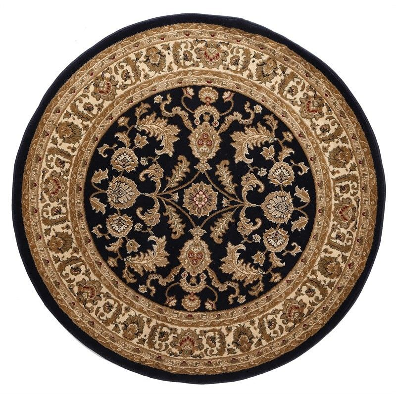 Julian Tait Turkish Made Oriental Round Rug, 120cm, Navy / Cream