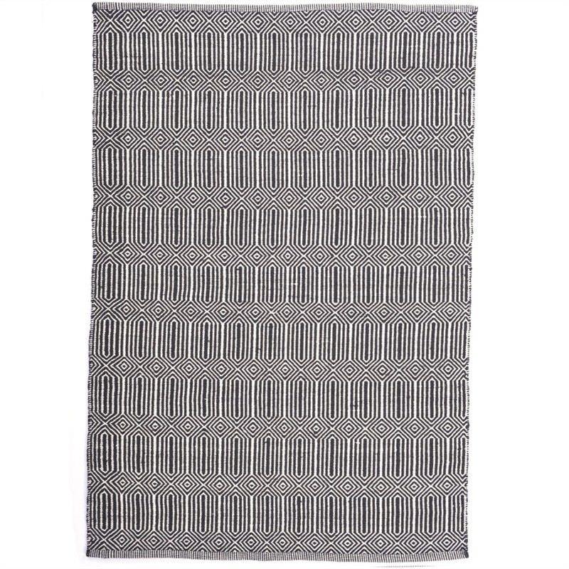 Ariana 120x170cm Hand Woven Cotton & Wool Rug - Black
