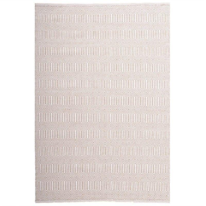 Ariana 160x230cm Hand Woven Cotton & Wool Rug - Limstone