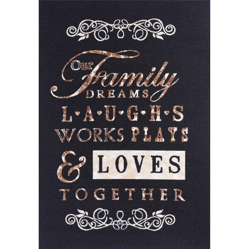 Poetry Family Dream Egyptian Made 150x220cm Nylon Rug - Black