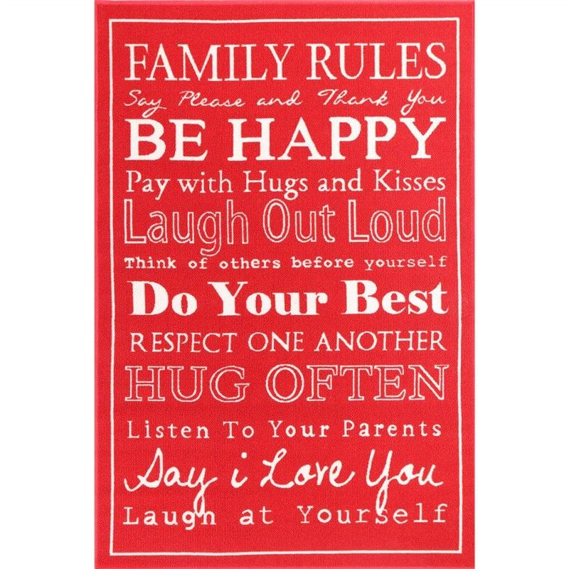 Poetry Family Rules Egyptian Made 100x150cm Nylon Rug - Red