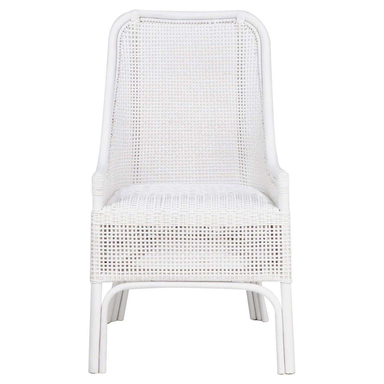 Achille Rattan Side Chair, White