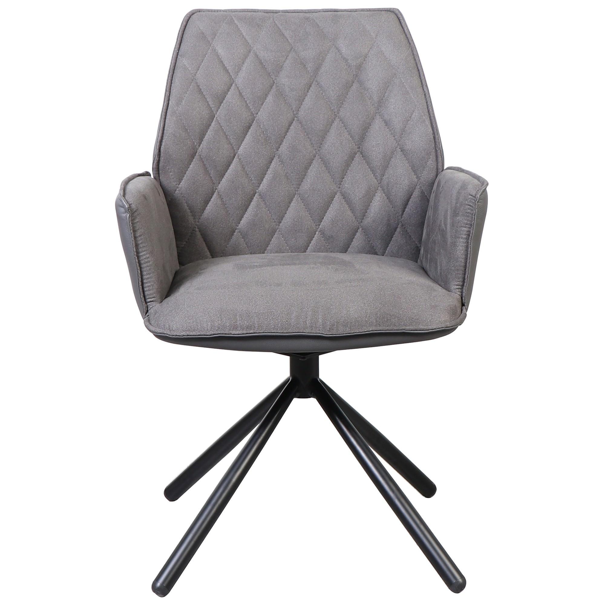 Oni Fabric & PU Leather Swivel Chair, Grey