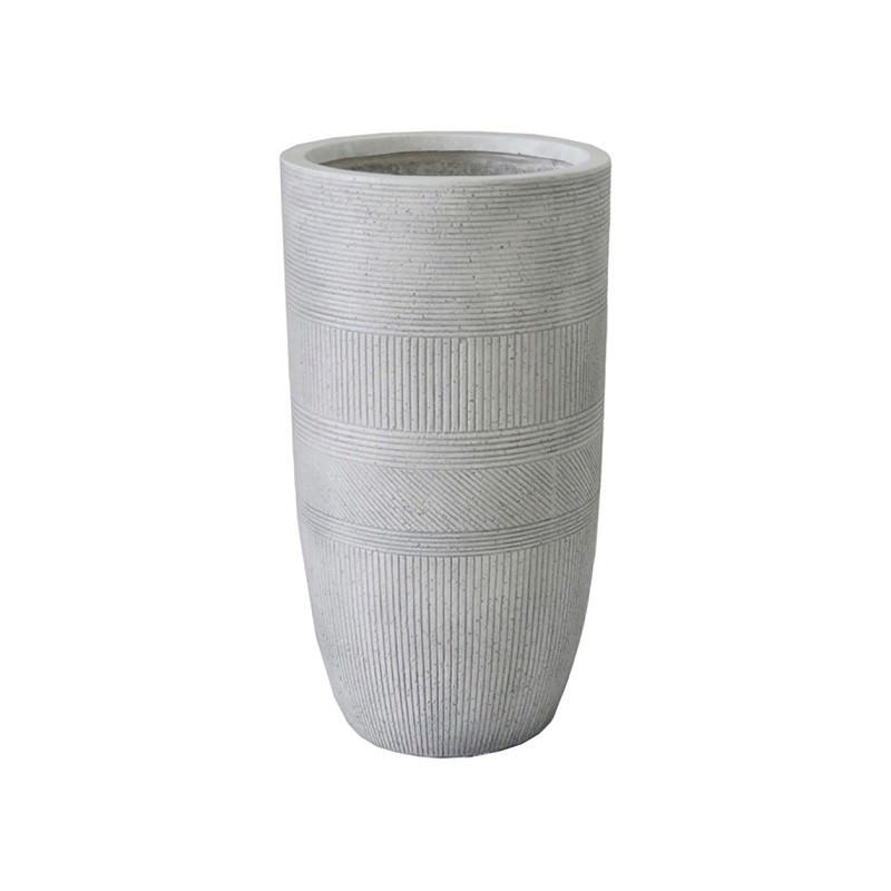 Vetro Ridged Urn, Medium, Off White