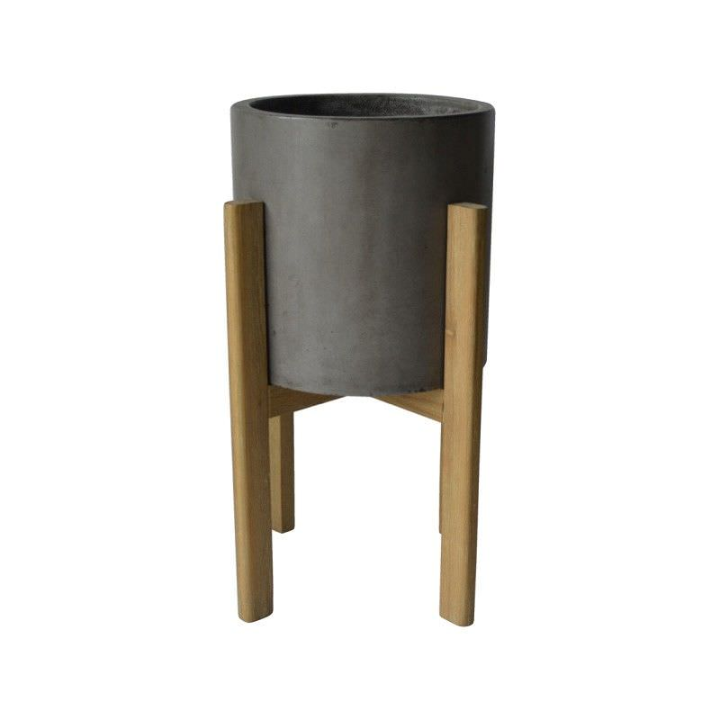 Tahoe Round Concrete Planter on Stand