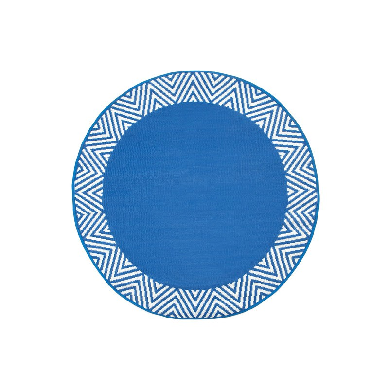 Olympia Reversible Indoor/Outdoor Round Rug, 180cm, Blue