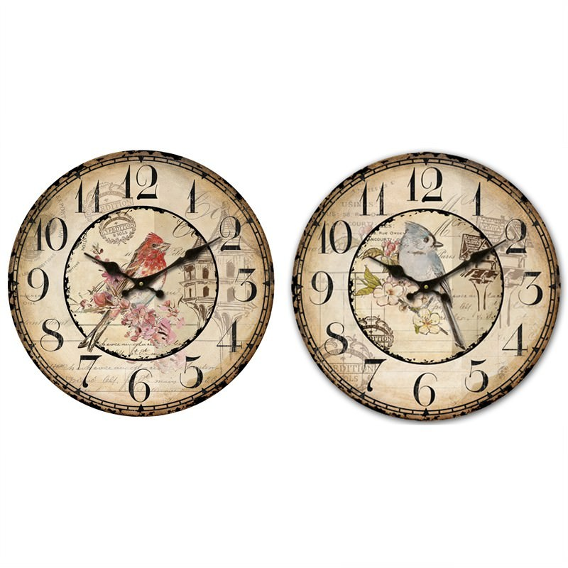 Bird wall clock 28.8cm (Set of 2)