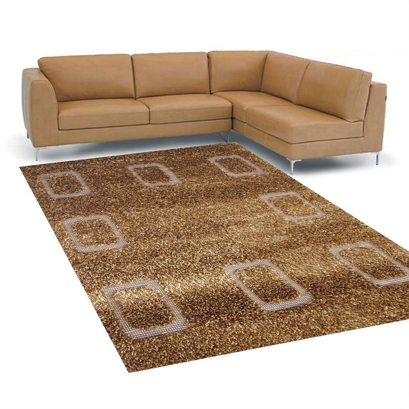 Patterned Shaggy Rug - 408 Brown - 160 X 230CM