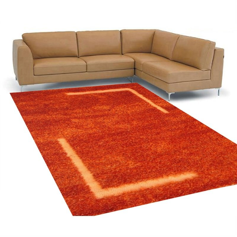 Patterned Shaggy Rug - 409 Rust - 160 X 230CM