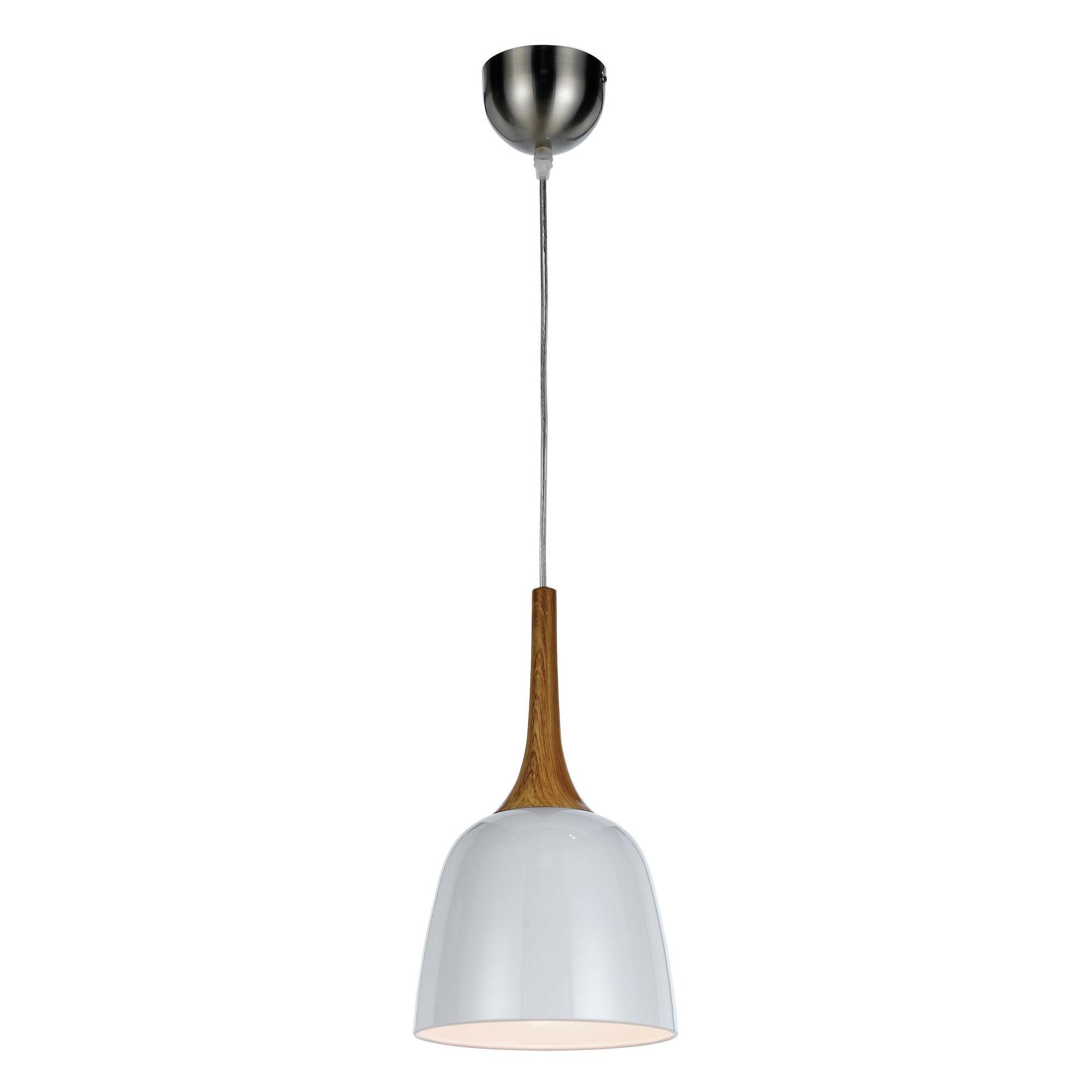 Polk Metal Pendant Light, Small, Whtie / Oak