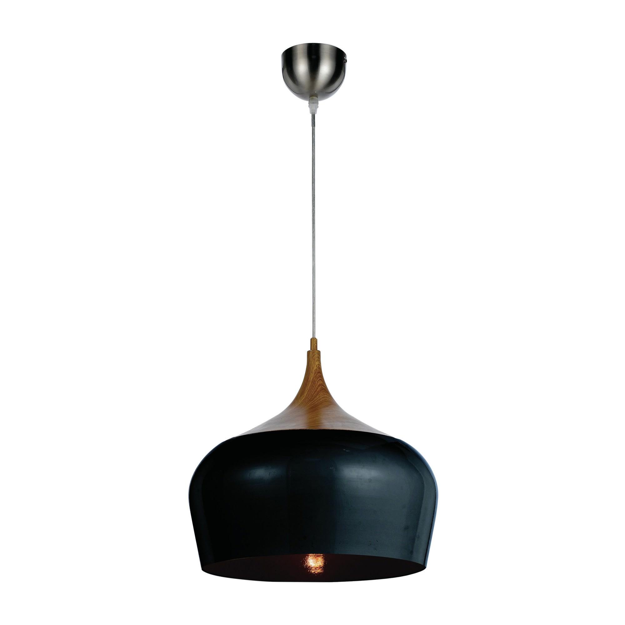 Polk Metal Pendant Light, Medium, Black / Oak