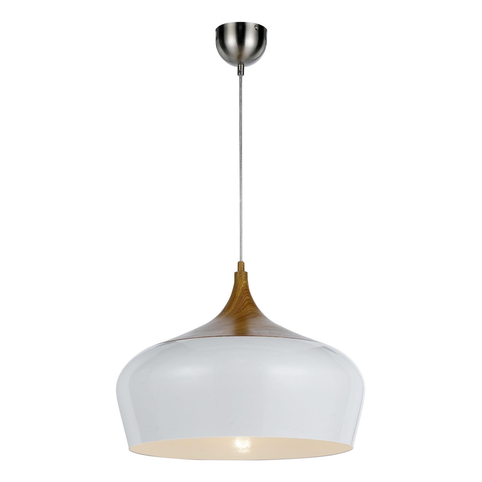 Polk Metal Pendant Light, Large, Whtie / Oak