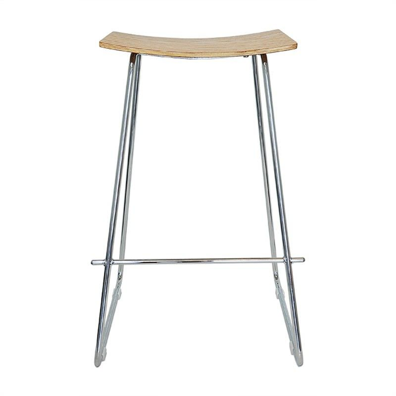 Porter Commercial Grade Steel Bar Stool, Natural / Chrome