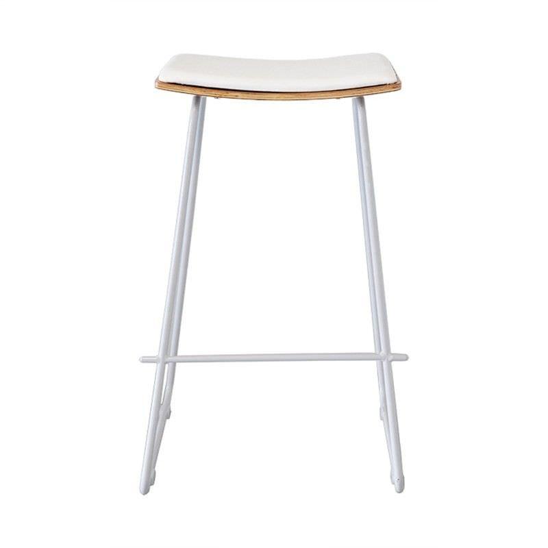 Porter Commercial Grade White Frame Bar Stool, Natural & White Cushion Seat