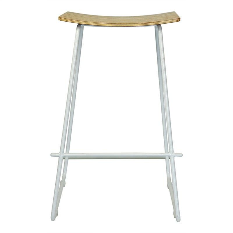 Nordberg Commercial Grade Steel Bar Stool, Natural / White