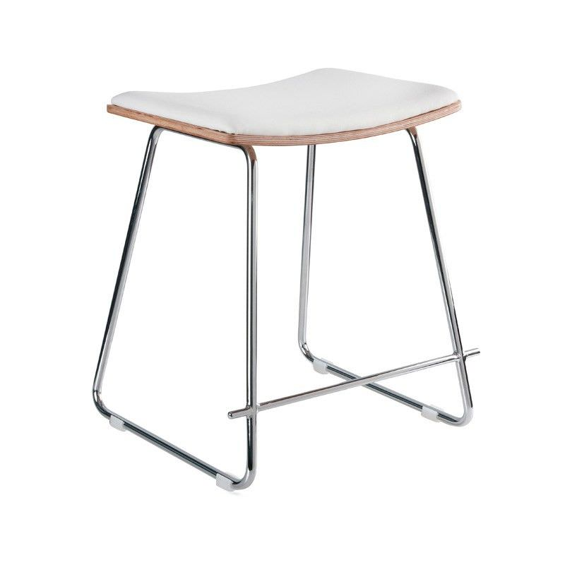 Porter Commercial Grade Chrome Frame Table Stool, Natural and White Cushion Seat