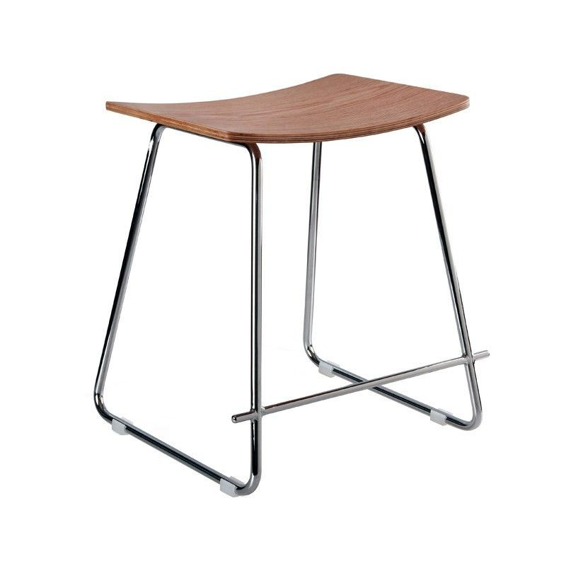 Nordberg Commercial Grade Steel Table Stool, Natural / Chrome
