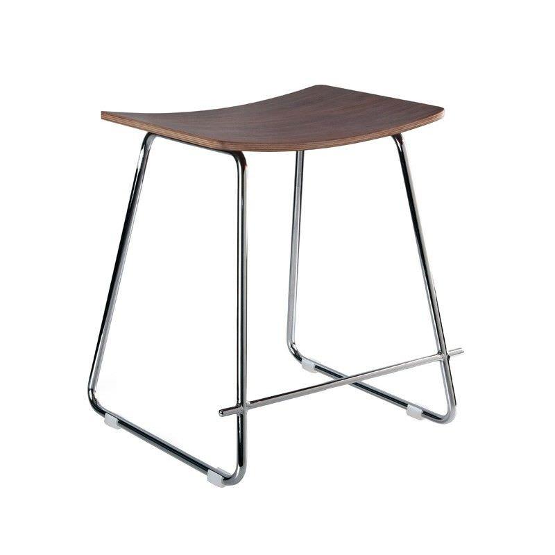 Porter Commercial Grade Chrome Frame Table Stool, Walnut