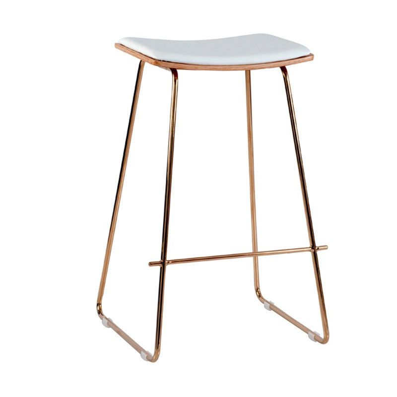 Nordberg Commercial Grade Steel Bar Stool with PU Seat, White / Rose Gold