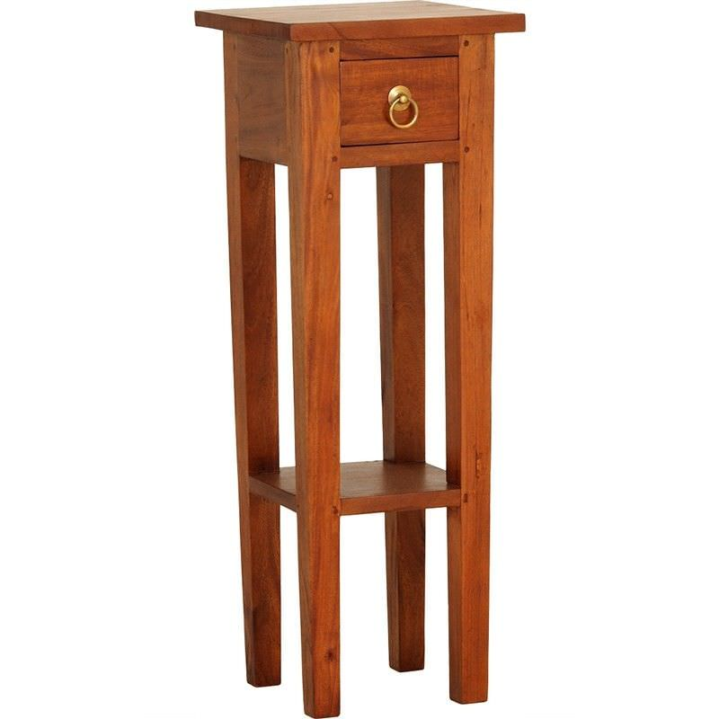 Straight Solid Mahogany Timber Plant Stand, Light Pecan