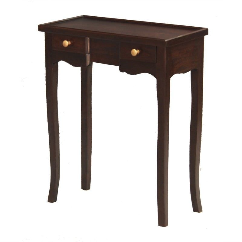 Queen Ann Solid Mahogany Timber 2 Drawer Phone Table - Chocolate