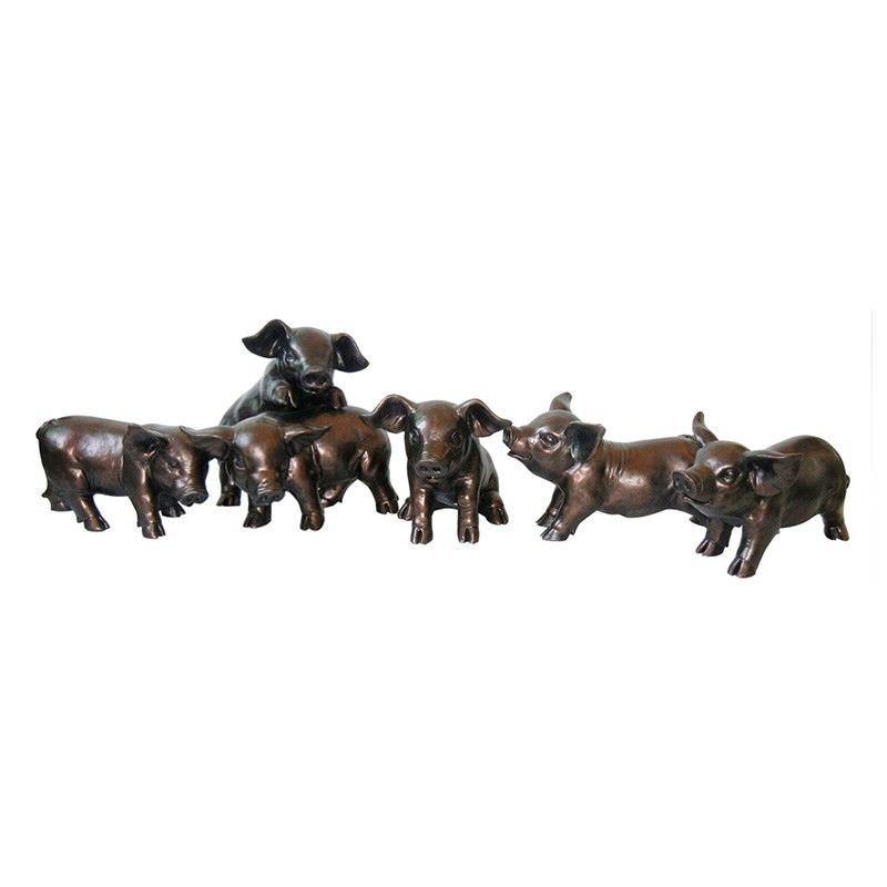 Set of 6 Piglet Garden Statues