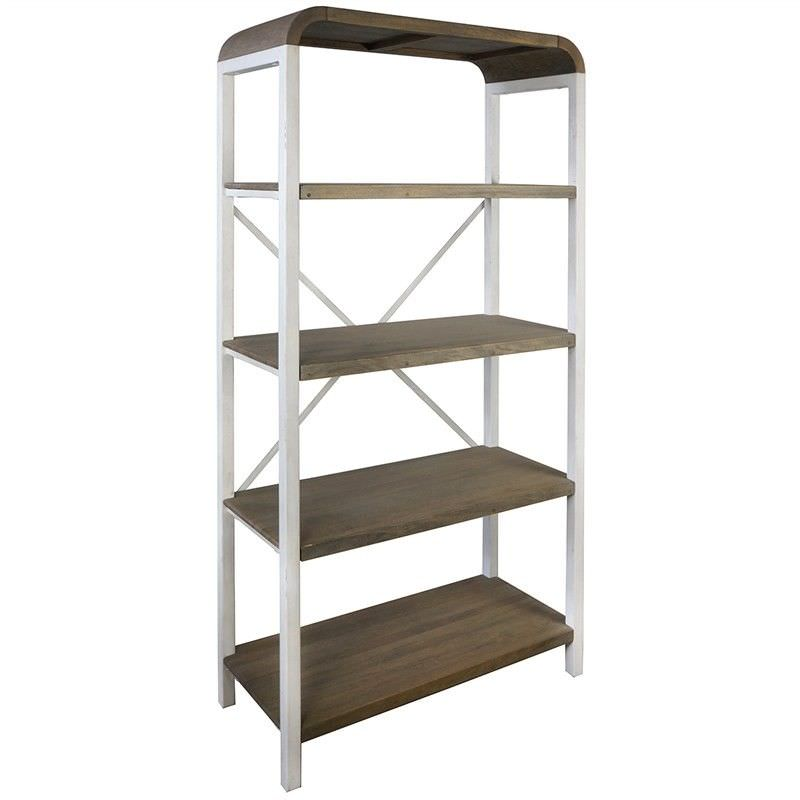 Hixton 5 Tier Solid Mango Wood Timber & Metal Display Shelf, White