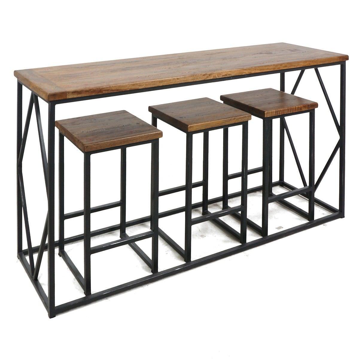 Alfresco 4 Piece Timber & Steel Breakfast Bar Set